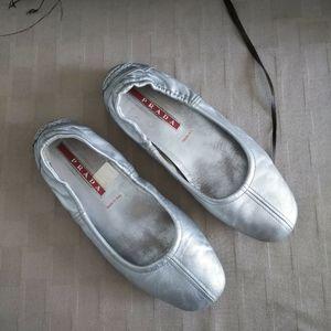 Prada Metallic Silver Ballet Flats